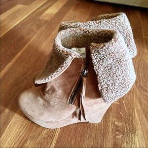 Shoes - Platform Wedge Faux Fur Ankle Boots, 9M
